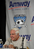 Lew Wolff, San Jose Earthquakes Owner. .The San Jose Earthquakes and Amway Global announced a historic three-year partnership agreement today that will include Amway GlobalÕs name on the front of the Earthquakes jerseys beginning in 2009. The partnership also features a number of in-stadium, community and grassroots components that will provide greater visibility for both the Earthquakes and Amway Global.