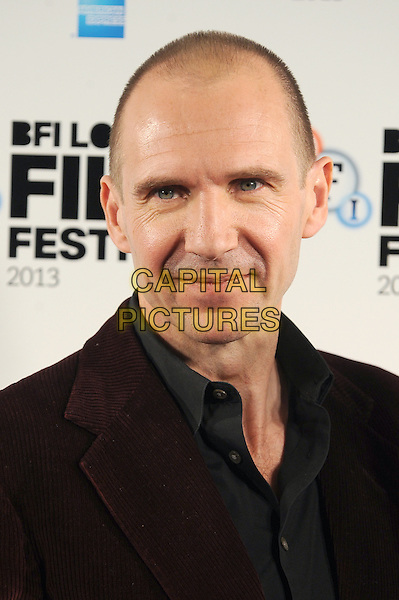 Ralph Fiennes <br /> attends a photocall ahead of the 57th BFI London Film Festival Screening of 'Invisible Woman', Mayfair Hotel, London.<br /> 17th October 2013.<br /> portrait headshot grey gray shirt red maroon burgundy jacket <br /> CAP/BEL<br /> &copy;Tom Belcher/Capital Pictures