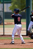 AZL Indians Blue Michael Amditis (8) at bat during an Arizona League game against the AZL Indians Red on July 7, 2019 at the Cleveland Indians Spring Training Complex in Goodyear, Arizona. The AZL Indians Blue defeated the AZL Indians Red 5-4. (Zachary Lucy/Four Seam Images)