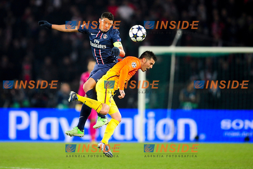 Thiago Silva (Paris) vs David Villa (Barca) .Parigi 2/4/2013 .Calcio Champions League Quarti di Finale Andata.Paris Saint Germain Barcellona.Foto Panoramic / Insidefoto