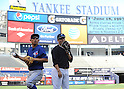 Munenori Kawasaki (Blue Jays), Masahiro Tanaka (Yankees),<br /> JUNE 18, 2014 - MLB : Japan's Munenori Kawasaki of the Toronto Blue Jays (L) and Japan's Masahiro Tanaka of the New York Yankees before the Major League Baseball game at Yankee Stadium in the Bronx, NY, USA.<br /> (Photo by AFLO)
