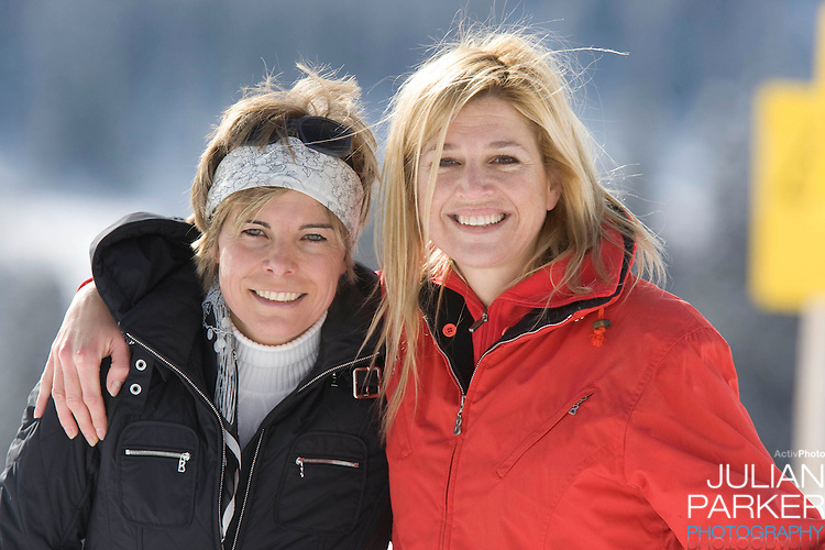 Crown Princess Maxima of Holland with Princess Laurentien attend a Photocall with Members of The Dutch Royal Family during their Winter Ski Holiday in Lech Austria