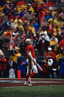 SAN FRANCISCO, CA:  Quarterback Steve Young of the San Francisco 49ers stands in the end zone during the NFC playoff game against the Chicago Bears at Candlestick Park in San Francisco, California on January 7, 1995. (Photo by Brad Mangin)