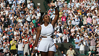 Serena Williams (USA) celebrates after winning her match against Kaja Juvan (SLO) in their Ladies' Singles Second Round match<br /> <br /> <br /> Photographer Rob Newell/CameraSport<br /> <br /> Wimbledon Lawn Tennis Championships - Day 4 - Thursday 4th July 2019 -  All England Lawn Tennis and Croquet Club - Wimbledon - London - England<br /> <br /> World Copyright © 2019 CameraSport. All rights reserved. 43 Linden Ave. Countesthorpe. Leicester. England. LE8 5PG - Tel: +44 (0) 116 277 4147 - admin@camerasport.com - www.camerasport.com