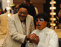 """Legendary musicians Antoine Dominque """"Fats Domino"""" and Little Richard share a few memories in Little Richards dressing room after he performed in New Orleans Saturday May 30,2009 as part of the Domino Effect Benefit concert which also featured B.B. King and Chuck Berry. Domino Effect Benefit Concert legendary performers gather in New Orleans at the Arena to raise funds and awarness for hurricane Katrina rebuilding for Fats Domino the Tipatina Foundation and the Drew Brees' foundation. Photo©Suzi Altman ALL IMAGES ©SUZI ALTMAN. IMAGES ARE NOT PUBLIC DOMAIN. CALL OR EMAIL FOR LICENSE, USE, OR TO PURCHASE PRINTS 601-668-9611 OR EMAIL SUZISNAPS@AOL.COMPhoto©Suzi Altman"""
