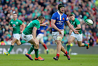 Sunday10th March 2019 | Ireland vs France<br /> <br /> Gregory Alldritt passes inside for Yoann Huget to score for France during the Guinness 6 Nations clash between Ireland and France at the Aviva Stadium, Lansdowne Road, Dublin, Ireland. Photo by John Dickson / DICKSONDIGITAL