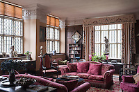 The curtains in the music room, emboidered by the National Association of Decorative & Fine Arts Societies, are an example of the care taken by the present owner to maintain a strong craft tradition in the house