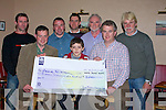 LOTTO: Frank O'Donovan of Abbeydorney who was the winner of EUR13,600 in the Crotta GAA Lotto weekly draw in Parker's Bar, Kilflynn, on Monday night. Accepting the cheque was Frank's son Ronan. Pictured front l-r: John Flaherty (Crotta), Ronan O'Donovan and Mike Parker (Parker's Bar, Kilflynn). Back l-r: Adrian Keane, John Kelly, Shane McKenna, Frank O'Donovan and Pat Hayes.   Copyright Kerry's Eye 2008