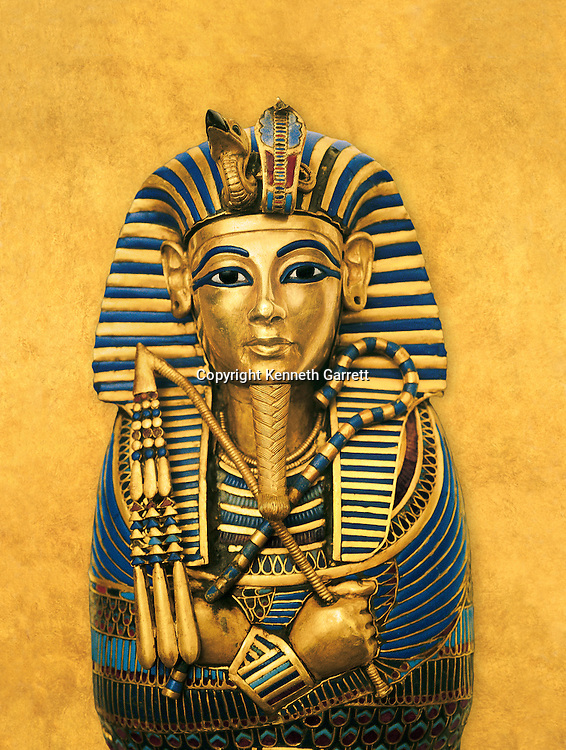 Composite illustration of coffinette for the viscera of Tutankhamun; Tutankhamun; Exhibit; Catalog; New Kingdom; Egypt; Golden Age of the Pharaohs, Cover