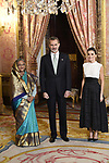 King Felipe VI of Spain (c) and Queen Letizia of Spain (r) receive Prime Minister of Bangladesh Sheij Hasina because of the United Nations conference for the Climate Summit 2019 (COP25) at the Royal Palace. December 2,2019. (ALTERPHOTOS/Pool/Carlos Alvarez)