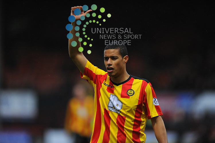 Thistle's Lyle Taylor in the SPFLP game between Partick Thistle and Dundee United at Firhill Stadium Glasgow on 1st February 2014 Picture: Lorraine Hill Universal News & Sport (Europe)