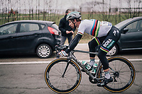 World Champion Peter Sagan (SVK/Bora-Hansgrohe) speeding down the Nieuwe Kwaremont in a rather awkward position...<br /> <br /> 61th E3 Harelbeke (1.UWT)<br /> Harelbeke - Harelbeke (206km)