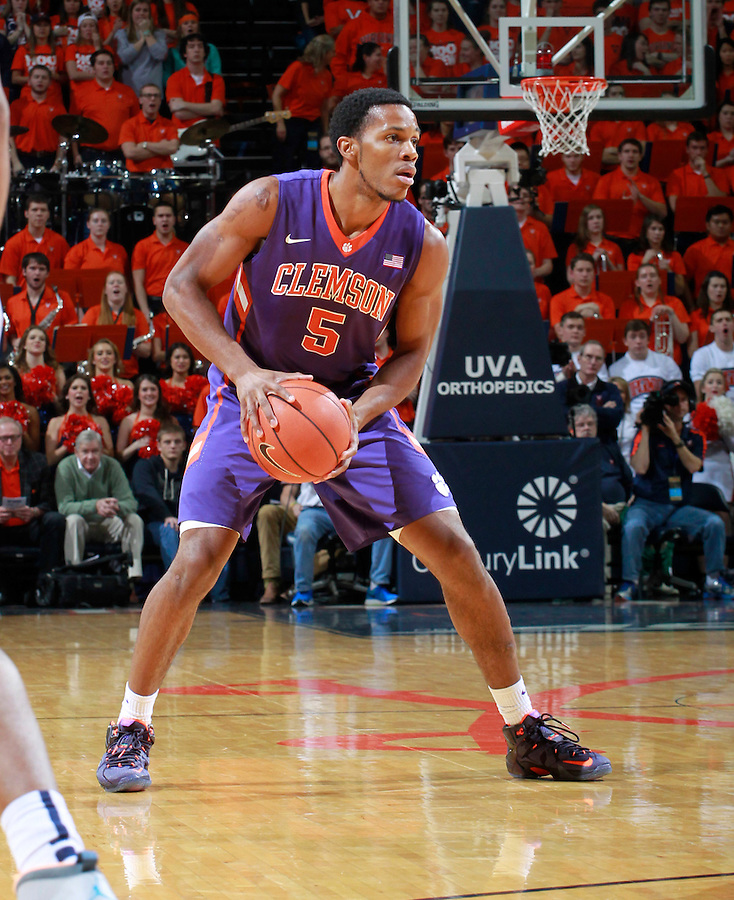Clemson forward Jaron Blossomgame (5) during an ACC basketball game Jan. 13, 2015 in Charlottesville, VA Virginia won 65-42.