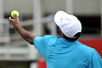 BOGOTA- COLOMBIA 23-07-2015:  Rajeev Ram de Estados Unidos sirve a Adrian Mannarino de Francia durante partido del ATP Claro Open Colombia de Tenis en las canchas del Centro de Alto rendimiento en Altura en la ciudad de Bogota.  / Rajeev Ram of United States serves to Adrian Mannarino de France during a match to the ATP Claro Open Colombia of Tennis in the courts of the High Performance Center in Altura in Bogota City. Photo: VizzorImage / Luis Ramirez / Staff.