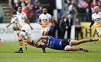 Willie Le Roux of Wasps is tackled by Zach Mercer of Bath Rugby. Gallagher Premiership match, between Bath Rugby and Wasps on May 5, 2019 at the Recreation Ground in Bath, England. Photo by: Patrick Khachfe / Onside Images