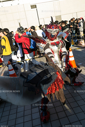 A cosplayer poses for a picture during the ''Comic Market (Comiket) 89'' at Tokyo Big Sight on December 29, 2015, Tokyo, Japan. Thousands of comic, game and cosplay fans attended the first day of the world's biggest amateur comic fair. Established in 1975, the bi-annual event provides an opportunity for fans and artists to interact. The exhibition is held from December 29 to 31 and expected to attract over 500,000 visitors. (Photo by Rodrigo Reyes Marin/AFLO)