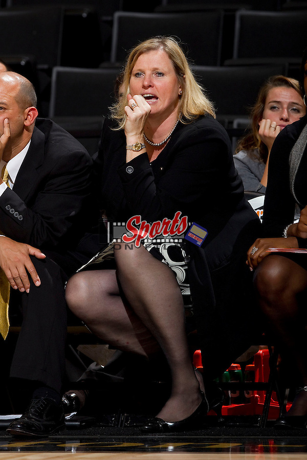 Wake Forest Demon Deacons head coach Jen Hoover yells instructions to her team during second half action against the Anderson Trojans at the LJVM Coliseum on October 29, 2012 in Winston-Salem, North Carolina.  The Demon Deacons defeated the Trojans 88-53.    (Brian Westerholt/Sports On Film)