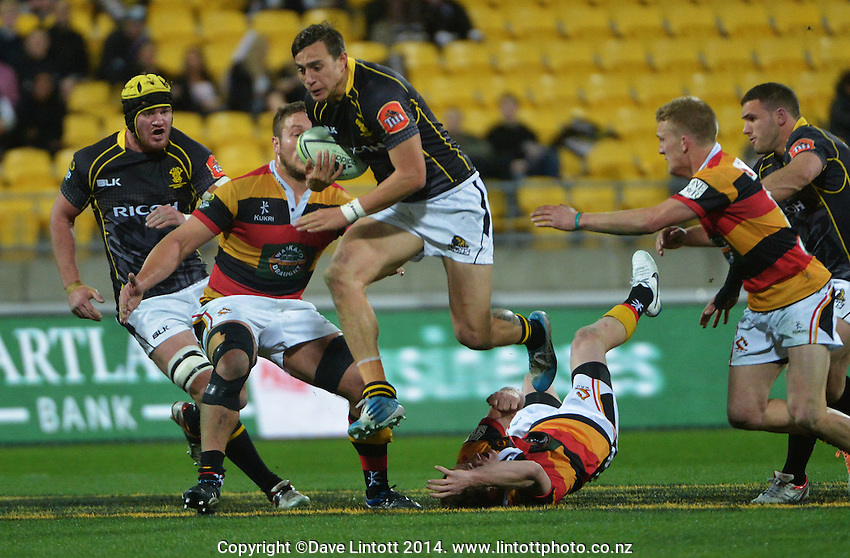 Ambrose Curtis in action during the ITM Cup rugby union match between Wellington Lions and Waikato at Westpac Stadium, Wellington, New Zealand on Saturday, 16 August 2014. Photo: Dave Lintott / lintottphoto.co.nz