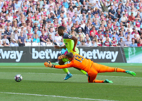 May 14th 2017, London Stadium, London, England; EPL Premier League football, West Ham United versus Liverpool; Daniel Sturridge of Liverpool takes the ball around West Ham Goalkeeper Adrian, and slots his shot into West Ham net in the 35th minute, 0-1 Liverpool