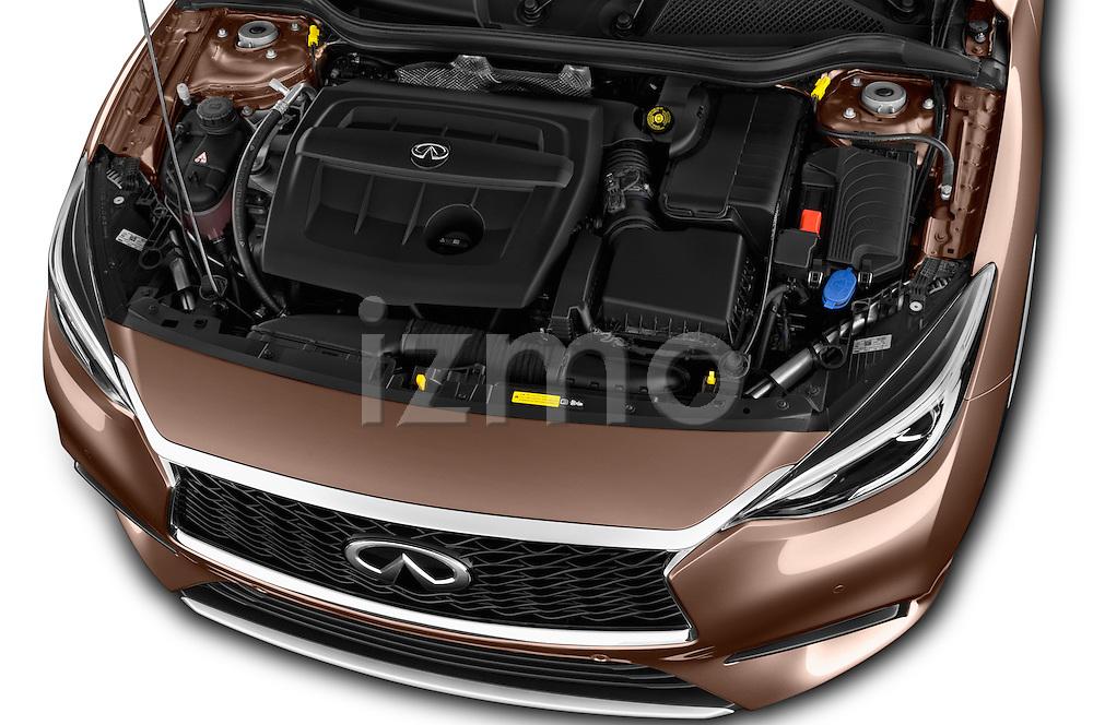 Car Stock 2016 Infiniti Q30 Premium 5 Door Hatchback Engine  high angle detail view