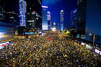 HONG KONG, HONG KONG SAR, CHINA - OCTOBER 01: Demonstrators regroup in Admirality, as part of a pro-democracy sit-in known as 'Occupy Central', blocking traffic on Gloucester Road, an otherwise busy multi-lane thoroughfare in Hong Kong, on October 1, 2014. Now sometimes called the 'Umbrella revolution', the Occupy Central civil disobedience movement began in response to China's decision to allow only Beijing-vetted candidates to stand in the city's 2017 election for the top civil position of chief executive. (Photo by Lucas Schifres/Getty Images)