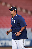 Connecticut Tigers pitching coach Carlos Chantres (26) during the first game of a doubleheader against the Brooklyn Cyclones on September 2, 2015 at Senator Thomas J. Dodd Memorial Stadium in Norwich, Connecticut.  Brooklyn defeated Connecticut 7-1.  (Mike Janes/Four Seam Images)