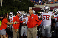 Ohio State Buckeyes head coach Urban Meyer wait to take the field against Virginia Tech Hokie at Lane Stadium in Blacksburg, Va on September 7, 2015.  (Dispatch photo by Kyle Robertson)