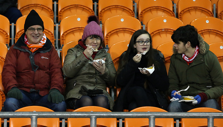 Blackpool fans enjoy the pre-match atmosphere<br /> <br /> Photographer Stephen White/CameraSport<br /> <br /> Emirates FA Cup Third Round - Blackpool v Arsenal - Saturday 5th January 2019 - Bloomfield Road - Blackpool<br />  <br /> World Copyright &copy; 2019 CameraSport. All rights reserved. 43 Linden Ave. Countesthorpe. Leicester. England. LE8 5PG - Tel: +44 (0) 116 277 4147 - admin@camerasport.com - www.camerasport.com<br /> <br /> Photographer Stephen White/CameraSport<br /> <br /> Emirates FA Cup Third Round - Blackpool v Arsenal - Saturday 5th January 2019 - Bloomfield Road - Blackpool<br />  <br /> World Copyright &copy; 2019 CameraSport. All rights reserved. 43 Linden Ave. Countesthorpe. Leicester. England. LE8 5PG - Tel: +44 (0) 116 277 4147 - admin@camerasport.com - www.camerasport.com