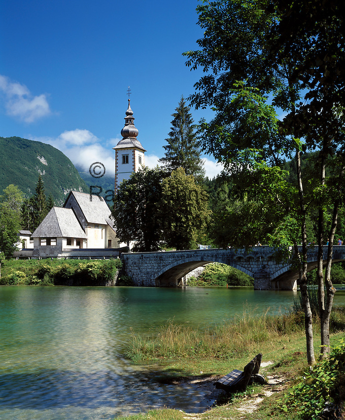 Slovenia, Gorenjska, Slovenian Corinthia, Lake Bohinj (Bohinjsko jezero) at Triglav-National Park,  church of St. John (the Baptist)