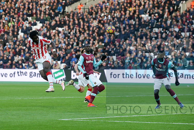 Stoke's Wifred Bony fires in a header just wide during the Premier League match at the London Stadium, London. Picture date November 5th, 2016 Pic David Klein/Sportimage