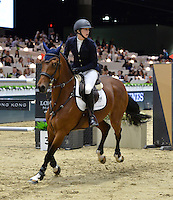 Audrey Coulter (USA), riding Domino at the Gucci Gold Cup International Jumping competition at the 2015 Longines Masters Los Angeles at the L.A. Convention Centre.<br /> October 3, 2015  Los Angeles, CA<br /> Picture: Paul Smith / Featureflash