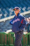 21 April 2013: Washington Nationals Team Owner Mark Lerner watches his team take batting practice prior to a game against the New York Mets at Citi Field in Flushing, NY. The Mets shut out the visiting Nationals 2-0, taking the rubber match of their 3-game weekend series. Mandatory Credit: Ed Wolfstein Photo *** RAW (NEF) Image File Available ***