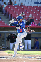 Michael Ahmed (12) of the Rancho Cucamonga Quakes bats against the High Desert Mavericks at Heritage Field on August 7, 2016 in Adelanto, California. Rancho Cucamonga defeated High Desert, 10-9. (Larry Goren/Four Seam Images)
