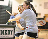 Stephanie Tavel, left, and Rachel Polansky of East Meadow celebrate after winning the Nassau County varsity girls badminton doubles championship at Bellmore JFK High School on Saturday, May 14, 2016.