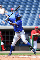 Dunedin Blue Jays third baseman Gustavo Pierre (17) during a game against the Clearwater Threshers on April 6, 2014 at Bright House Field in Clearwater, Florida.  Dunedin defeated Clearwater 5-2.  (Mike Janes/Four Seam Images)