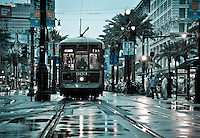 The Canal Street Trolley on a rainy saturday morning in New Orleans, Louisiana.