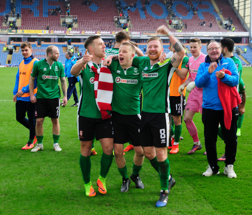 From left, Lincoln City's Jack Muldoon, Terry Hawkridge and Alan Power celebrate the win at the end of the game<br /> <br /> Photographer Chris Vaughan/CameraSport<br /> <br /> Emirates FA Cup Fifth Round - Burnley v Lincoln City - Saturday 18th February 2017 - Turf Moor - Burnley <br />  <br /> World Copyright &copy; 2017 CameraSport. All rights reserved. 43 Linden Ave. Countesthorpe. Leicester. England. LE8 5PG - Tel: +44 (0) 116 277 4147 - admin@camerasport.com - www.camerasport.com