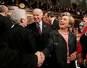 MSG: Hillary and Joe Biden (L)..U.S. President George W. Bush delivers his annual State of the Union address to a joint session of Congress at the U.S. Capitol in Washington, January 23, 2007. REUTERS/Larry Downing  (UNITED STATES)