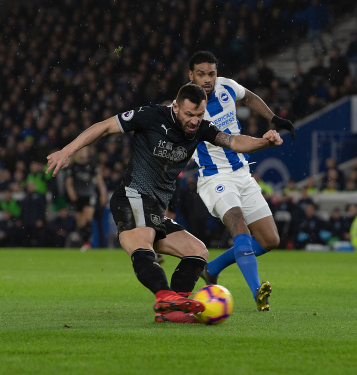 Burnley's Phillip Bardsley (left) under pressure from Brighton &amp; Hove Albion's Jurgen Locadia <br /> <br /> Photographer David Horton/CameraSport<br /> <br /> The Premier League - Brighton and Hove Albion v Burnley - Saturday 9th February 2019 - The Amex Stadium - Brighton<br /> <br /> World Copyright &copy; 2019 CameraSport. All rights reserved. 43 Linden Ave. Countesthorpe. Leicester. England. LE8 5PG - Tel: +44 (0) 116 277 4147 - admin@camerasport.com - www.camerasport.com