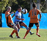 BRISBANE, AUSTRALIA - OCTOBER 30: Claire Polkinghorne of the Roar and Kyah Simon of Sydney compete for the ball during the round 1 Westfield W-League match between the Brisbane Roar and Sydney FC at Spencer Park on November 5, 2016 in Brisbane, Australia. (Photo by Patrick Kearney/Brisbane Roar)