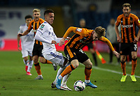 Hull City's Keane Lewis-Potter shields the ball from Leeds United's Rodrigo Moreno<br /> <br /> Photographer Alex Dodd/CameraSport<br /> <br /> Carabao Cup Second Round Northern Section - Leeds United v Hull City -  Wednesday 16th September 2020 - Elland Road - Leeds<br />  <br /> World Copyright © 2020 CameraSport. All rights reserved. 43 Linden Ave. Countesthorpe. Leicester. England. LE8 5PG - Tel: +44 (0) 116 277 4147 - admin@camerasport.com - www.camerasport.com