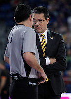 Herbalife Gran Canaria's coach Pedro Martinez have words with the referee during Spanish Basketball King's Cup semifinal match.February 07,2013. (ALTERPHOTOS/Acero) /NortePhoto