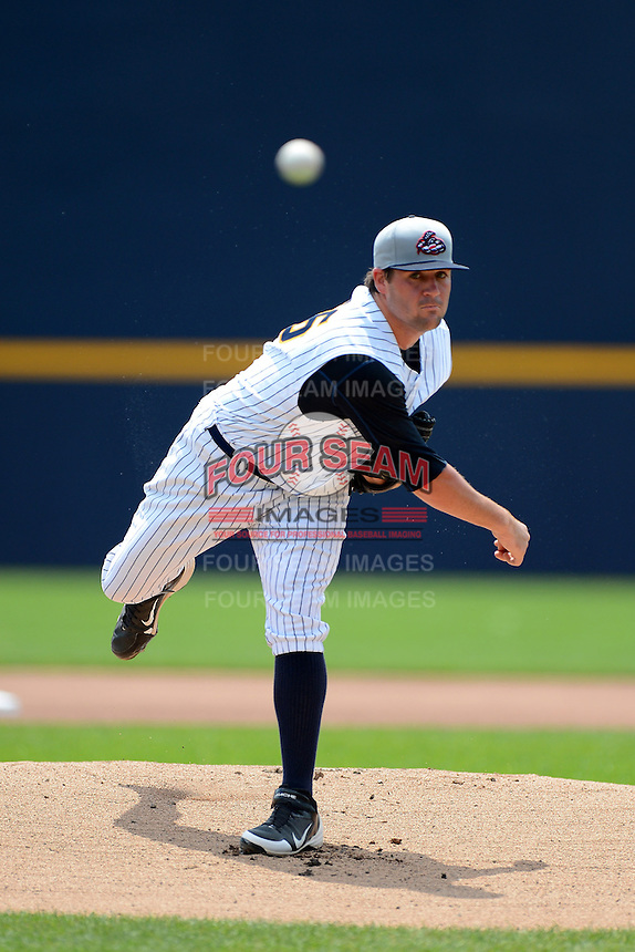 Trenton Thunder pitcher Zach Nuding #56 during a game against the Reading Fightin Phils on July 8, 2013 at Arm & Hammer Park in Trenton, New Jersey.  Trenton defeated Reading 10-6.  (Mike Janes/Four Seam Images)