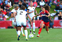 Boyds, MD - Saturday May 07, 2016: Washington Spirit midfielder Estefania Banini (10) moves up on Portland Thorns FC defender Katherine Reynolds (2) during a regular season National Women's Soccer League (NWSL) match at Maureen Hendricks Field, Maryland SoccerPlex. Washington Spirit tied the Portland Thorns 0-0.