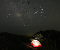 Camping tent night sky star.