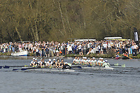Henley, GREAT BRITAIN,  Men's lightweight race at the 2012 Henley Boat Races, left, Berks station Cambridge and Oxford on the Bucks station.    Henley on Thames, England, Sunday  25/03/2012. [Mandatory Credit, Peter Spurrier/Intersport-images..Crews CULRC.Blue Boat.Bow: James Wedlake, 2: Martin Kubie, 3: Simon Morris, 4: Matthew White, 5: Charles Pitt-Ford, 6: Piran Tedbury, 7: Rupert Price, Stroke: Nicolas Kernick, ..OULRC.Blue Boat.Bow: Richard Watson, 2: Ed Lent, 3: Jasper Warner, 4: James Thom, 5: Till Hackler, 6: Till Wirth, 7: Ben Walpole, Stroke: Tyler Spencer, Cox: Victoria Stulgis.
