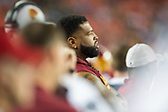 Landover, MD - August 24, 2018: Washington Redskins offensive tackle Trent Williams (71) relaxes on the sidelines during preseason game between the Denver Broncos and Washington Redskins at FedEx Field in Landover, MD. The Broncos defeat the Redskins 29-17. (Photo by Phillip Peters/Media Images International)