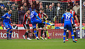 10th February 2018, Bramall Lane, Sheffield, England; EFL Championship football, Sheffield United versus Leeds United; Caleb Ekuban of Leeds United tries to get a shot on goal but it is blocked