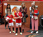 Wife Lisa Carrick with children Louise and Jacey during the Michael Carrick Tetimonial match at the Old Trafford Stadium, Manchester. Picture date: June 4th 2017. Picture credit should read: Simon Bellis/Sportimage