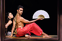 """Eastleigh, UK. 21.09.2017. The company rehearses Shobana Jeyasingh Dance's """"Bayadere: The Ninth Life"""", at The Point, Eastleigh, prior to commencing a tour which includes The Lowry, Salford, and Sadler's Wells, London. The dancers are: Avatara Ayuso, Carmine De Amicis, Fabio Dolce, Sunbee Han, Bryony Harrison, Andre Kamienski, Noora Kela, Ingvild Krogstad, Sooraj Subramaniam, Jack Thomson, Adi Chugh (actor). The work is choreographed and directed by Shobana Jeyasingh, with set and costume design by Tom Piper, and lighting design by Fabiana Piccioli. Picture shows: Sooraj Subramaniam. Photograph © Jane Hobson."""